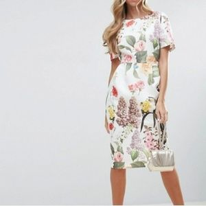 ASOS Textured Floral Midi Wiggle Dress